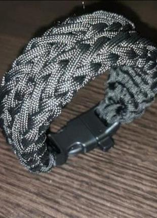 Черный браслет, широкий браслет , мужской браслет, браслет из паракорда