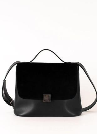 Замшевая черная сумка портфель женская деловая молодежная через плечо
