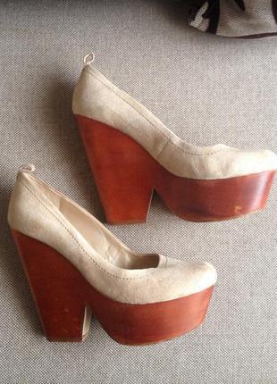 Нюдовые кожаные туфли topshop