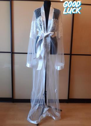 Халат длинный для будуарных фотосессий, невеста, фатин, гипюр, летящие широкие рукава
