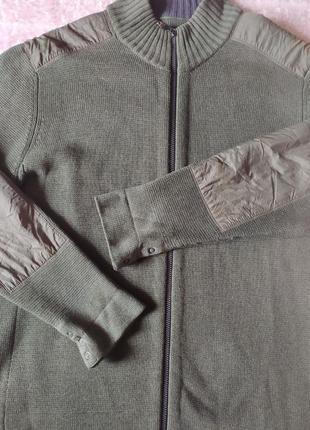 Толстовка бомбер кофта мужская теплая хаки хлопок