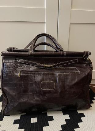 Кожаный дорожный саквояж сумка