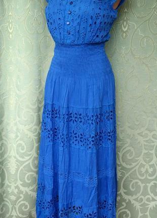 Женское платье - сарафан макси, прошва. хлопок. индия. синий 46-48 р