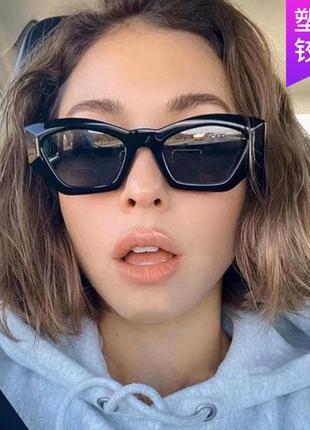 Новые чёрные очки леопардовые кошачий глаз тренд 2021