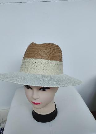 Соломенная шляпа от солнца,  шляпка плетеная трехцветная унисекс primark one size
