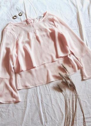 Пудровая блуза с расклешенными рукавами☺️