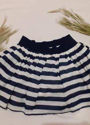 Пышная летняя юбка лето в полоску полосочку морская натуральная хлопок солнцеклеш