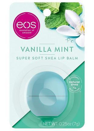 """Бальзам для губ """"ванильная мята"""" eos visibly soft lip balm vanilla mint"""