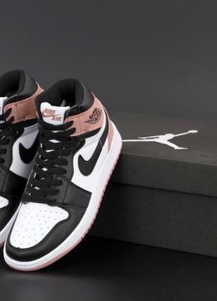 Легкие спортивные кроссовки кеды высокие nike air jordan кожаные найк