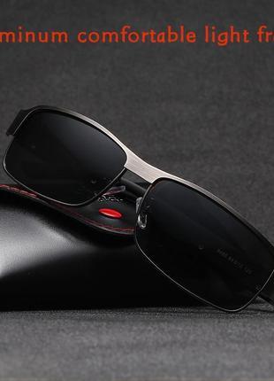 Мужские солнцезащитные очки в алюминиевой оправе, с поляризованными линзами uv400