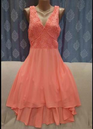 Шифоновое/ нарядное платье apricot  со шлейфом и кружевным верхом apricot