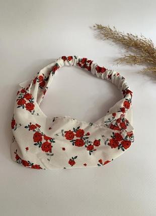 Шифонова повязка на волосся, бандана на голову жіноча біла квіткова, летняя повязка
