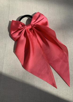 Резинка для волосся з бантом, бант на волосся рожевий, твіллі бант, резинка с лентами