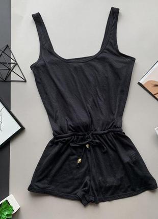 👗симпатичный чёрный полупрозрачный комбинезон с шортами/чёрный лёгкий комбез с резинкой👗