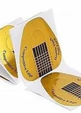 Формы для наращивания ногтей золотые широкие 50 шт2 фото