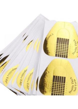 Формы для наращивания ногтей золотые широкие 50 шт3 фото