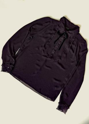Трендовая шифоновая блуза с манишкой и рюшами  в винтажном стиле