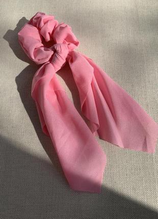 Резинка для волосся з стрічкою, резинка твіллі, стрічка на волосся рожева, твилли яркая