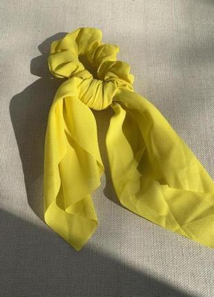 Жіноча резинка зі стрічкою твіллі жовта, твилли желтая с лентами