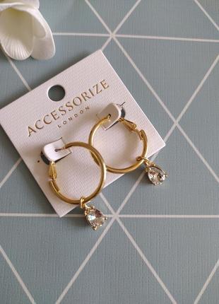 Сережки підвіски, серьги кольца с подвеской от accessorize с сайта asos