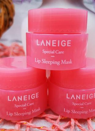 Ночная маска laneige для губ ягода lip sleeping mask miniature