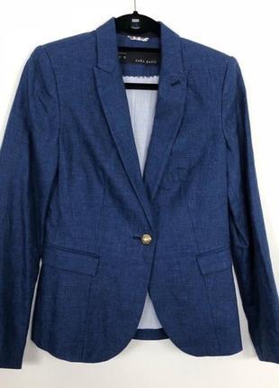 Насыщений синий льняной пиджак 100 лён