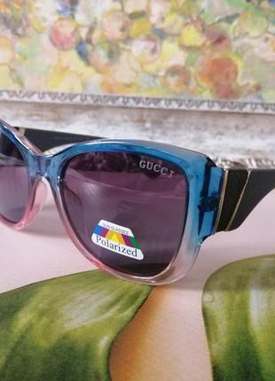 Эксклюзивные брендовые двухцветные солнцезащитные женские очки с поляризацией