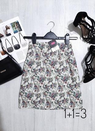 Topshop стильная мини юбка на талию s плотная фактурная короткая классика дамаст чинц