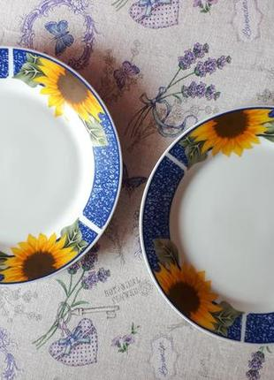 Набор из 2-х тарелок с подсоонухами  комплект тарелки подсолнухи диаметр 23 см