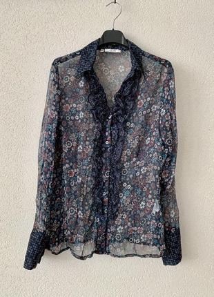 Женская легкая блуза рубашка шифон цветочный принт