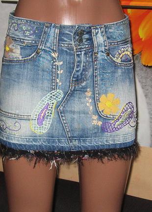 Юбка джинс с вышивкой,wrangler,р.s