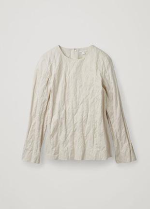 Стильна мятая блуза, рубашка из жатого котона оттенок айвори cos annette gortz rundholz oska