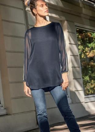 Стильная женская блуза, блузка, туника с шифоном от тсм tchibo (чибо), германия, s-m, 3xl
