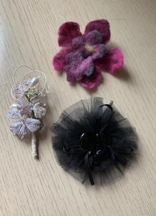 Набор из 3 броши ручной работы, брошка на шляпку или пальто