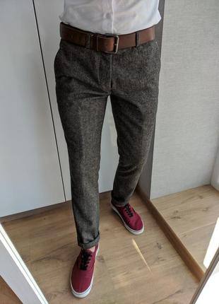 Мужские новые серые шерстяные классические повседневные штаны брюки чиносы cedarwood state