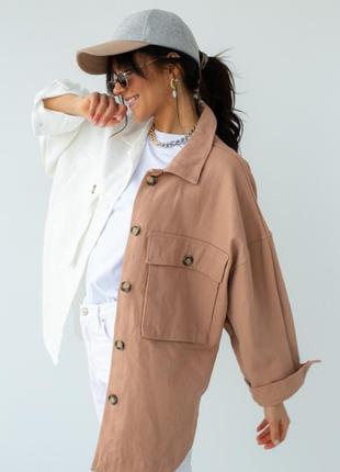 Двухцветная куртка-пиджак с накладными карманами2 фото