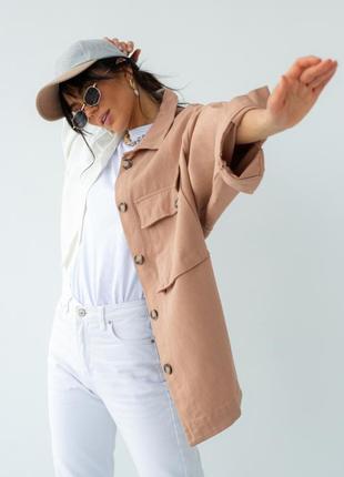Двухцветная куртка-пиджак с накладными карманами5 фото