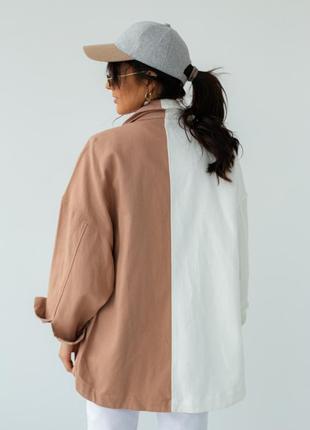Двухцветная куртка-пиджак с накладными карманами3 фото