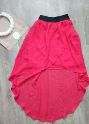 Юбка красная мини со шлейфом stradivarius s 42-44