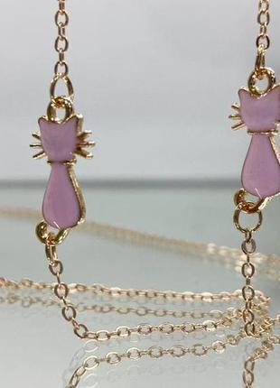 Красивая цепочка для очков золотистая с розовыми котиками ланцюжок для окулярів