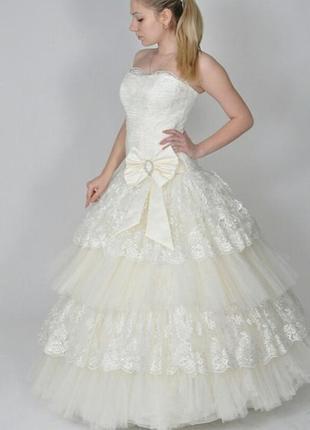 Свадебное платье, кружевное айвори, весільна сукня,  мереживна, шампань