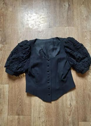 Шикарная блуза с рукавами буфами, шелк