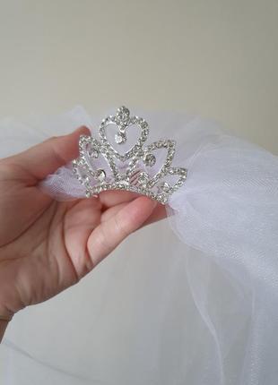 Фата и диадема, діадема корона, фата с короной, свадебная, на девичник