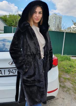 Норковая шуба халат с капюшоном черный бриллиант