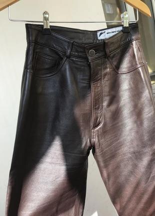 Коричневые кожаные штаны брюки в стиле zara mango cos винтаж
