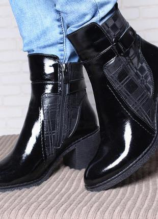 Модные лаковые ботинки на каблуке с тиснение в клетку натуральная кожа 36-41р.