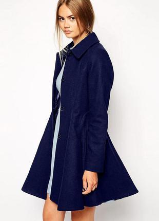 Новое синее пальто шинель asos
