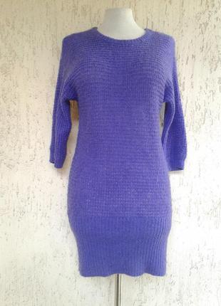 Мохеровое фиолетовое платье -туника, s-m1