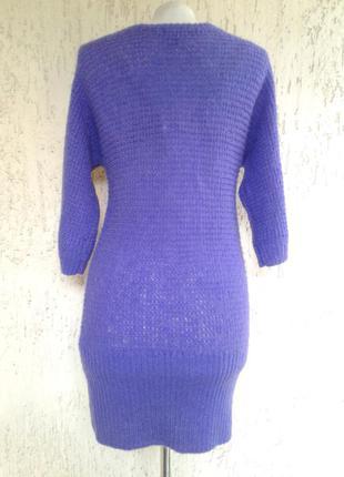 Мохеровое фиолетовое платье -туника, s-m2