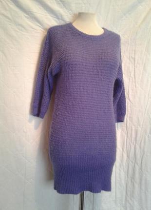 Мохеровое фиолетовое платье -туника, s-m3